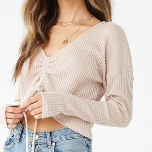 Waffle Knit Long Sleeve Runched up Top